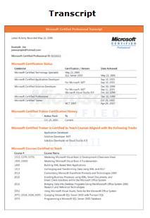 Microsoft Certified Professional Transcript